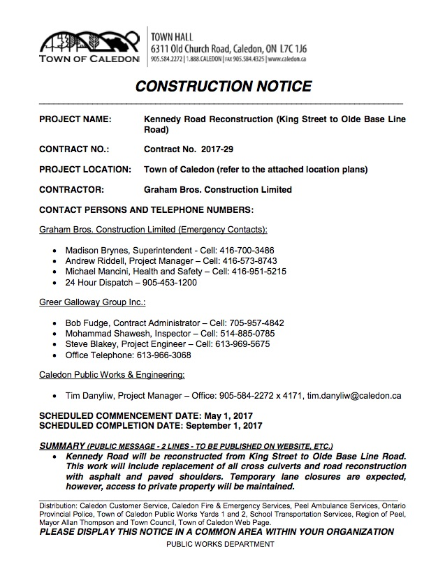 CONSTRUCTION NOTICE- Kennedy Road Rehab (002) - new map